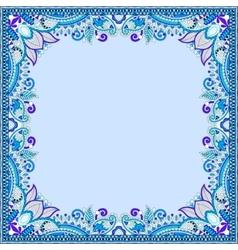 blue floral vintage frame ukrainian ethnic style vector image