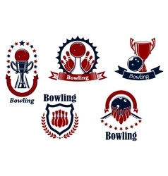 Bowling icons with balls ninepins and trophy vector