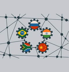 Brics union members national flags on gears vector