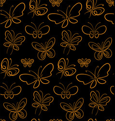 Butterfly set pattern gold on black simbols vector