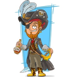 Cartoon bearded pirate with rum vector