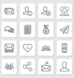 communication icons set collection of personal vector image vector image