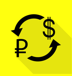 Currency exchange sign rouble and us dollar black vector