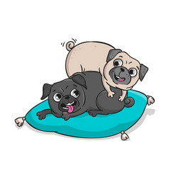 cute pugs hand drawn cartoon vector image vector image
