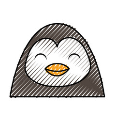 Cute scribble penguin face cartoon vector