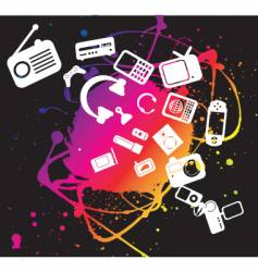 electronic gadgets grunge splat vector image vector image