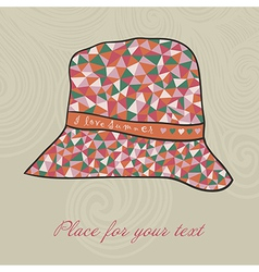 Fashion hat made of triangles fabric i love summer vector