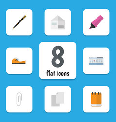 flat icon stationery set of marker fastener page vector image vector image