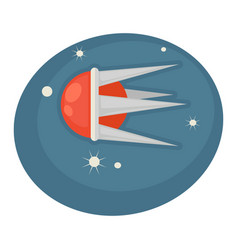 Flying spaceship in round shape with sharp frame vector