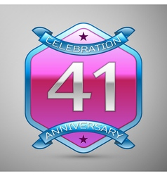 Forty one years anniversary celebration silver vector