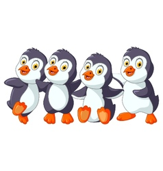 funny penguins cartoon set character vector image