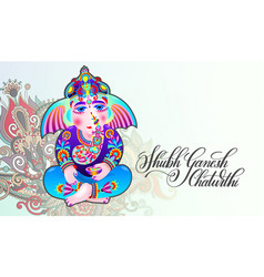 Happy ganesh chaturthi beautiful greeting card vector