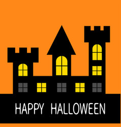 happy halloween haunted house dark black castle vector image