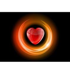 Heart neon light dark orange vector