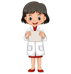 little girl holding white paper vector image vector image
