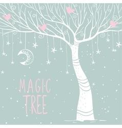 magic tree night vector image vector image