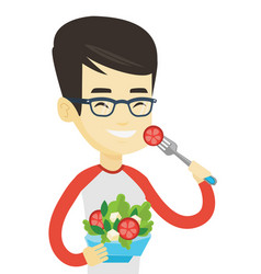 Man eating healthy vegetable salad vector