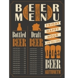 Menu for the pub for bottled and draft beer vector
