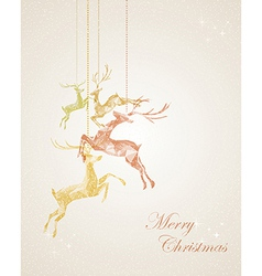 Merry Christmas abstract hanging reindeer greeting vector image