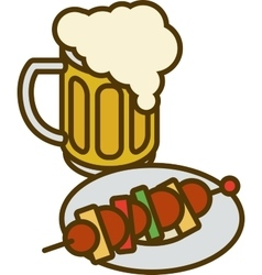 Overflowing Beer Mug and Plate with Kebab vector image vector image
