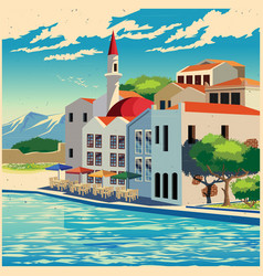 Picturesque quay old poster vector
