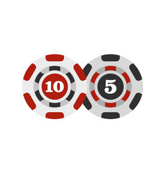Poker chips nominal five and ten icon flat style vector