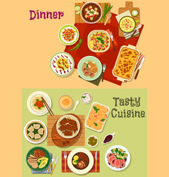 Restaurant dinner dishes icon for menu design vector