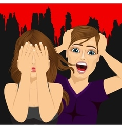 scared couple screaming terrified vector image