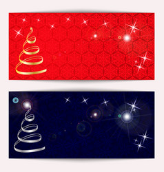 set of christmas or new year horizontal banners vector image