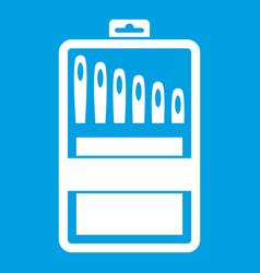 Set of needles icon white vector