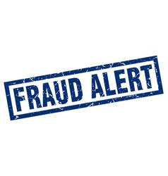 Square grunge blue fraud alert stamp vector