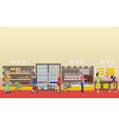 Supermarket interior in flat vector