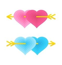 Two love gay hearts vector