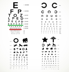Various versions of the table for eye tests vector image vector image