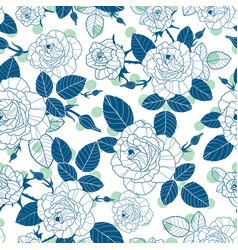 vintage denim blue and white roses and vector image vector image