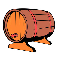 Wooden barrel of beer with a tap icon icon cartoon vector