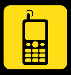 Yellow black sign - old mobile phone with antenna vector