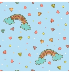 Colorful seamless pattern with rainbow heart vector image