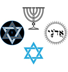 The jewish religious and magic symbols vector
