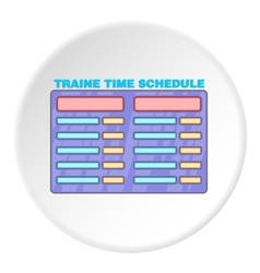 Train schedule icon cartoon style vector