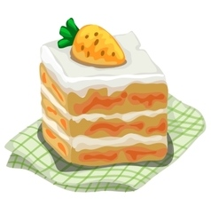 Piece of delicious cake with carrot on top vector