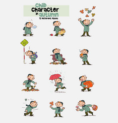 12 poses of child character in autumn vector image