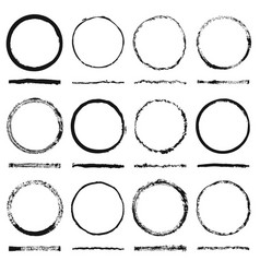 Set of round frames sloppy shape and texture vector