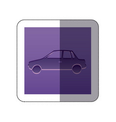 Sticker color background with carved automobile vector