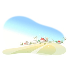 Houses on landscape vector