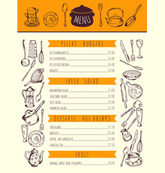 Restaurant food menu for lunch hand drawn vector