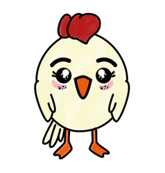 Isolated cute standing chicken vector