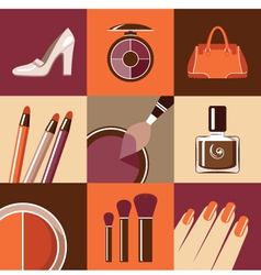 Flat round icons with makeup and accessories vector