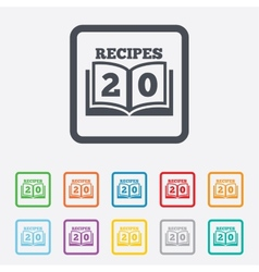 Cookbook sign icon 20 recipes book symbol vector
