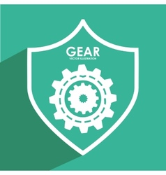 Gears shield vector